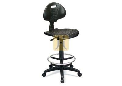 TABURETE NEGRO con asiento y respaldo en poliuretano, grupo 1 con ruedas